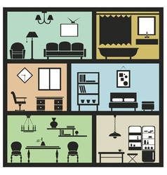 Interior furniture icons vector