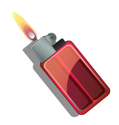 Red gas lighter with flame isolated vector