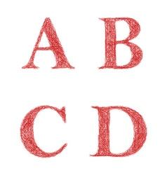 Red sketch font set - letters A B C D vector image vector image