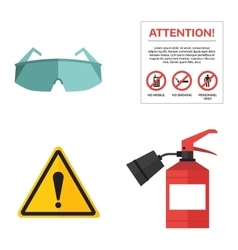 Safety work icons flat style vector image vector image