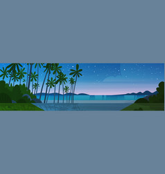 Sea shore beach after sunset beautiful seaside vector