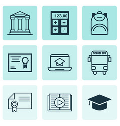Set of 9 education icons includes diploma taped vector