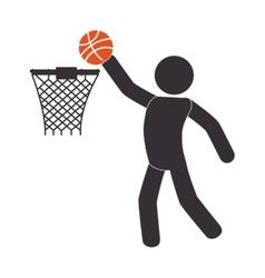 Silhouette human playing basketball vector