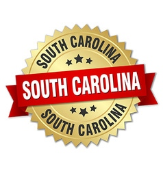 South carolina round golden badge with red ribbon vector