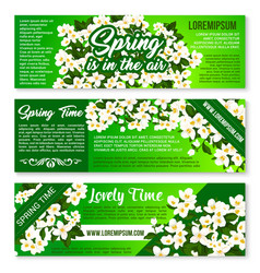 Spring flower bunch banner flyer template design vector