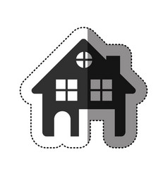sticker of black silhouette of house two floors vector image vector image