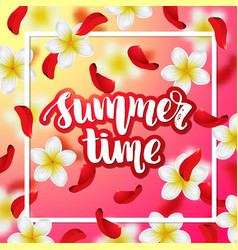 Summer or spring background with tropical flowers vector