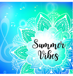 summer vibes card with mandala vector image vector image