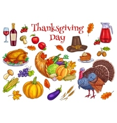 Thanksgiving traditional celebration symbols vector image