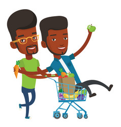 Two friends riding by shopping trolley vector
