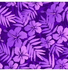 Violet tropical flowers seamless pattern vector