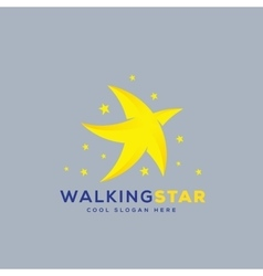 Walking star abstract icon symbol or logo vector