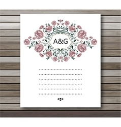 Wedding card with roses flowers Invitation card vector image