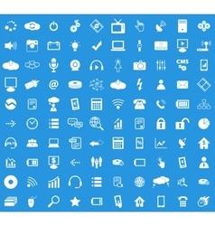 100 Hi-Tech icon set vector image