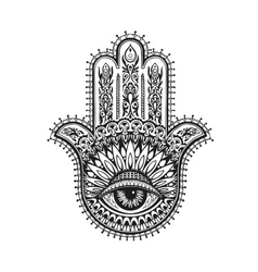 Hand drawn indian hamsa with ethnic ornaments vector image