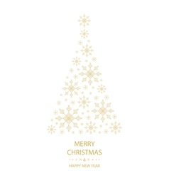 Merry christmas card snowflakes christmas tree vector