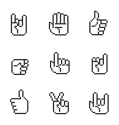 Pixel art 8 bit hands icons and gestures signs set vector image