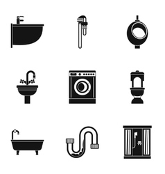 Sanitary appliances icons set simple style vector