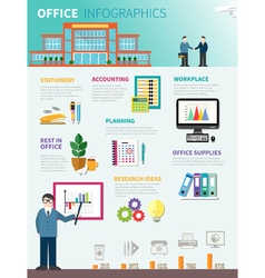 Office infographics flat template vector
