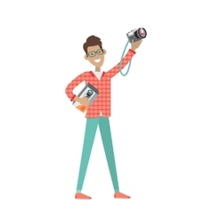 Man with loud speaker and photo camera sale price vector