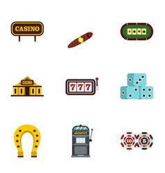Casino icons set flat style vector