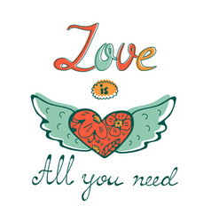 All you need is love concept card with flofal vector