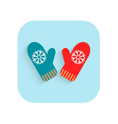 Mittens christmas flat icon holiday symbol vector
