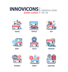 Bank cards - modern line design icons set vector