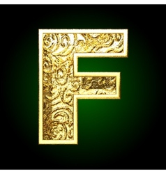 Golden cutted figure f vector
