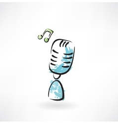 Music microphone grunge icon vector