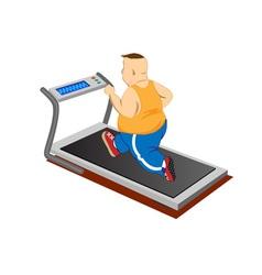 Overweight men running on a treadmill vector