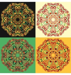 Set of four traditional russian circular mandala vector