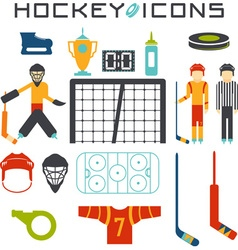 Flat design icons of hockey vector