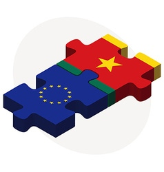 European union and cameroon flags in puzzle vector