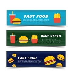 Fast food banner flat vector