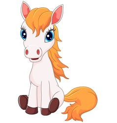Cartoon cute pony horse sitting vector