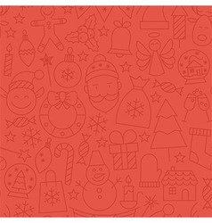 Line art happy new year red seamless pattern vector