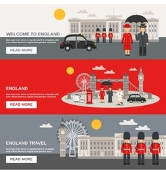 English culture 3 horizontal banners set vector