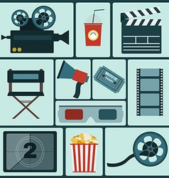 Cinema colorful icon set vector