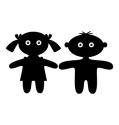 Dolls boy and girl silhouette vector