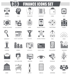 Finance black icon set Dark grey classic vector image