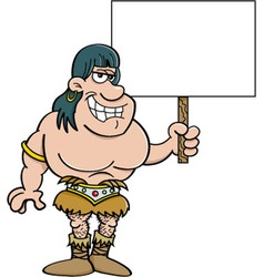 Cartoon of a barbarian holding a sign vector