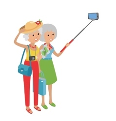 Intellegent modern elderly women using mobile vector