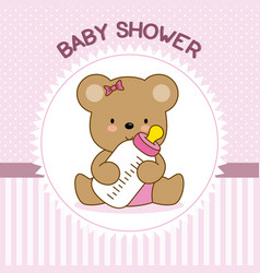 Bear with baby bottle vector