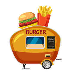Burger trailer mobile snack icon cartoon style vector