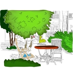 Cafe in the Garden Partially colored version2 vector image