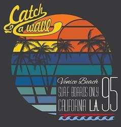 California venice beach typography t-shirt vector