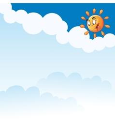 cartoon sun clouds vector image