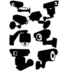 cctv camera silhouettes vector image vector image