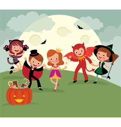 Children on halloween night party vector